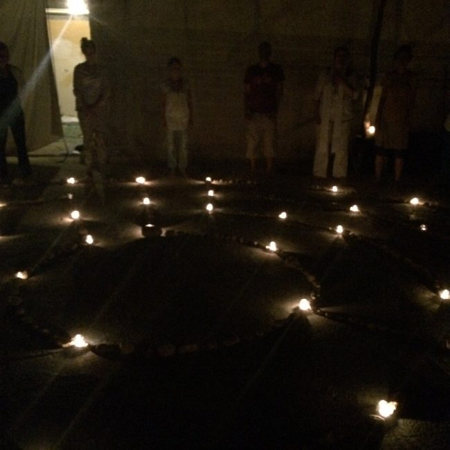 Candle-lit labyrinth